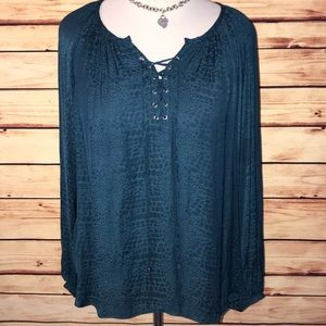 Jennifer Lopez Teal Slinky Lace Up Peasant Blouse